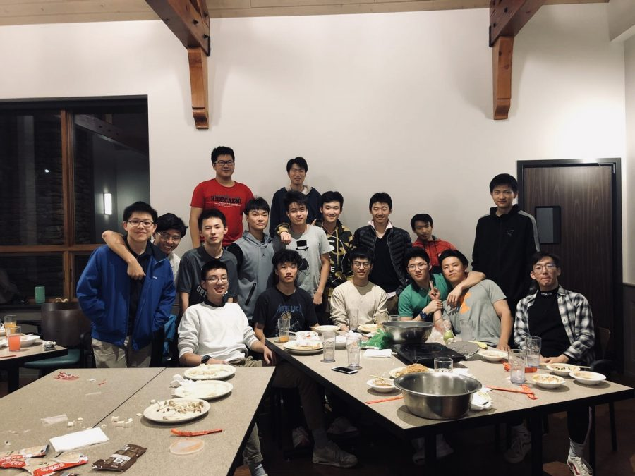 Chinese students enjoy a Lunar New Year dinner in 2019.